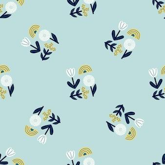 Losowy wzór z kwiatowym abstrakcyjnym ornamentem doodle