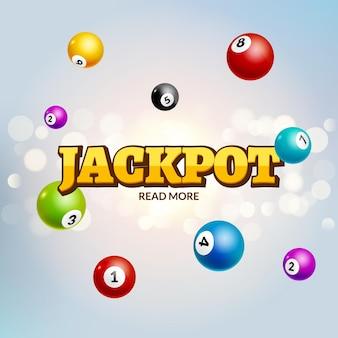 Loteria jackpot bingo kolorowe tło. piłka rekreacyjna do gier hazardowych lotto. zwycięzca jackpota.