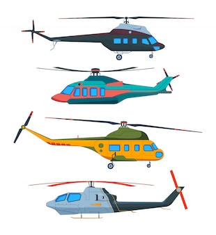 Lotnictwo śmigłowca. kreskówka helikoptery. avia transport odizolowywający na bielu