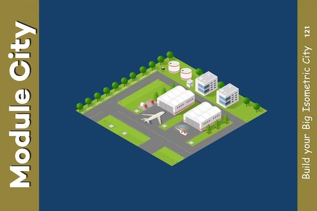 Lotnisko isometric city 3d