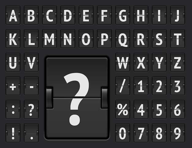 Lotnisko klapka czcionka do wyświetlania informacji o przybyciu lotu i ilustracji wektorowych harmonogramu. czarna mechaniczna tablica wyników z pogrubionym alfabetem z numerami do wyświetlania miejsca docelowego i wylotu.
