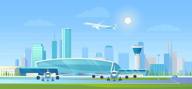 Lotnisko miejskie w nowoczesnym mieście z drapaczami chmur