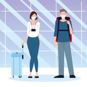 Lotnisko nowa normalna, młoda kobieta i mężczyzna w torbie i ochronnych maskach