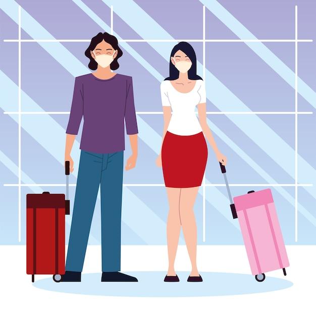 Lotnisko nowa normalna, szczęśliwa para z walizkami stojących razem