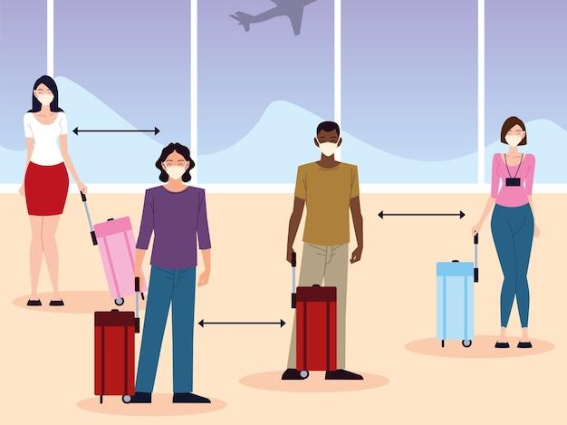 Lotnisko nowe normalne, grupa ludzi, dystans społeczny między pasażerami