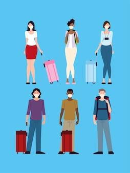 Lotnisko nowe normalne, grupowe osoby z maskami ochronnymi i walizkami, podróżujące podczas covid 19