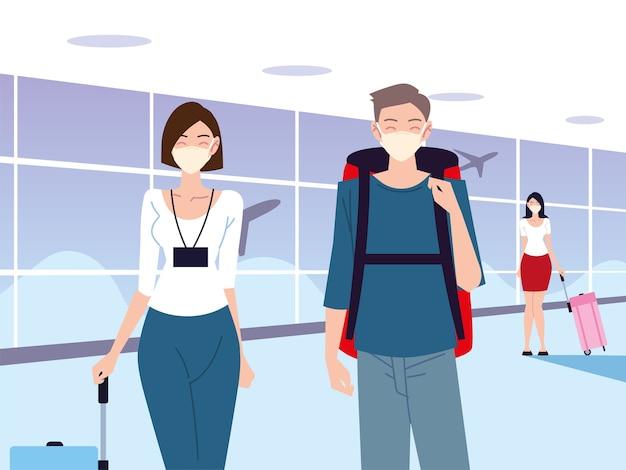 Lotnisko nowe, normalne, młode osoby w maskach ochronnych, utrzymujące dystans społeczny