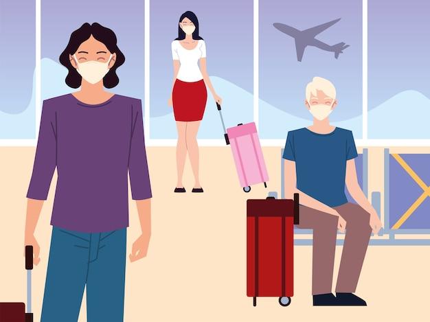 Lotnisko nowe normalne, pasażerowie z maskami i walizkami czekają na lot zachowując dystans towarzyski
