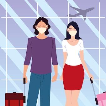 Lotnisko nowy normalny, mężczyzna i kobieta w maskach ochronnych i walizkach