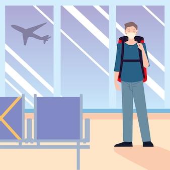 Lotnisko nowy normalny, samotny podróżnik w masce z bagażem
