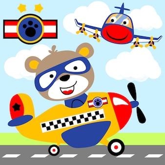 Lotnisko. śmieszny pilot na samolocie
