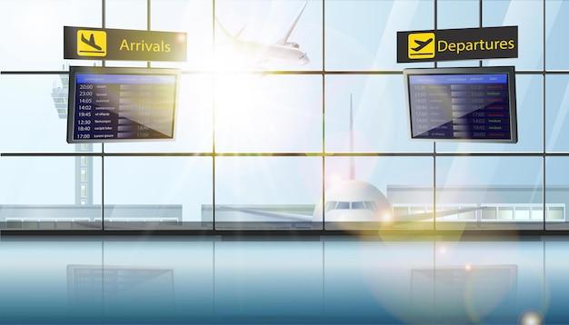Lotnisko z samolotami w oknie i ekranami rozkładu lotów odlotów i lądowań.