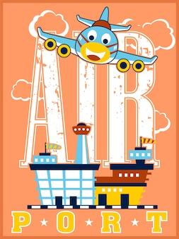 Lotnisko z zabawną samolotową kreskówką
