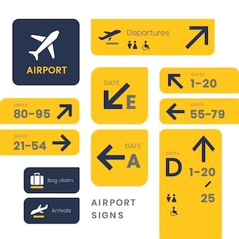 Lotnisko znaki ikona wektor zestaw