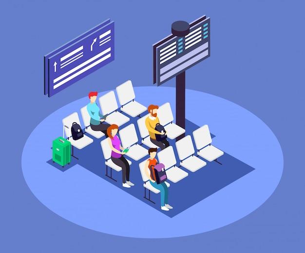 Lotniskowa odlotu obszaru isometric kolor ilustracja.