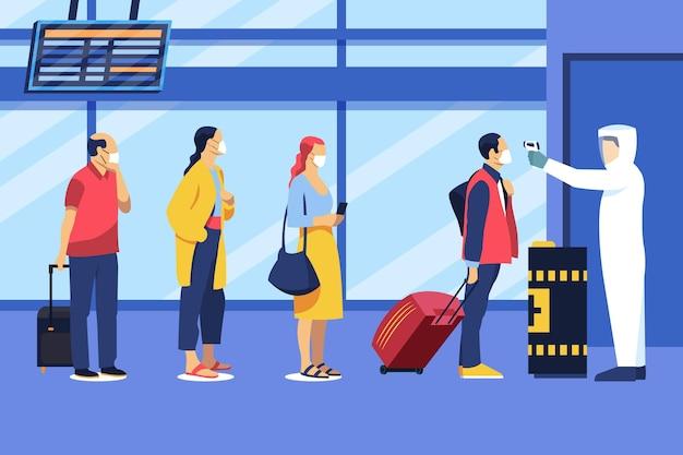 Lotniskowe środki zapobiegawcze sprawdzające temperaturę