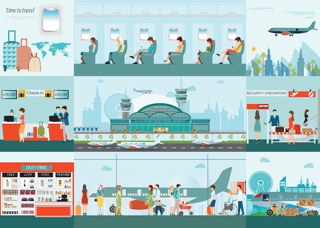 Lotniskowy infographic pasażerska linia lotnicza przy lotniskowym terminal.