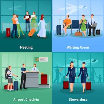 Lotniskowy płaski pojęcie set pasażery z bagażowym spotkania i czekania ludźmi