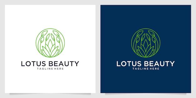 Lotos piękno linii sztuki projektowanie logo natura