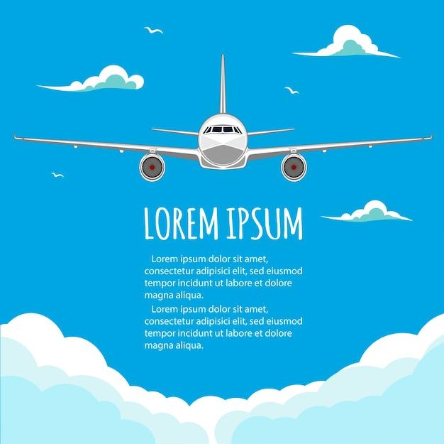Loty komercyjne w samolotach. loty turystyczne i biznesowe. samolot pasażerski. puste miejsce na tekst. ulotka. ilustracja. niebieskie tło