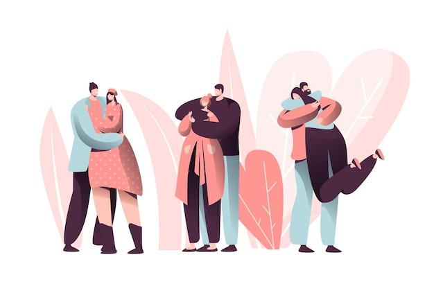 Love couple character hug on valentine dating set.