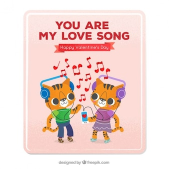 Love karty z kociąt słuchania muzyki