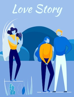 Love story shooting movie - couple and cameraman.