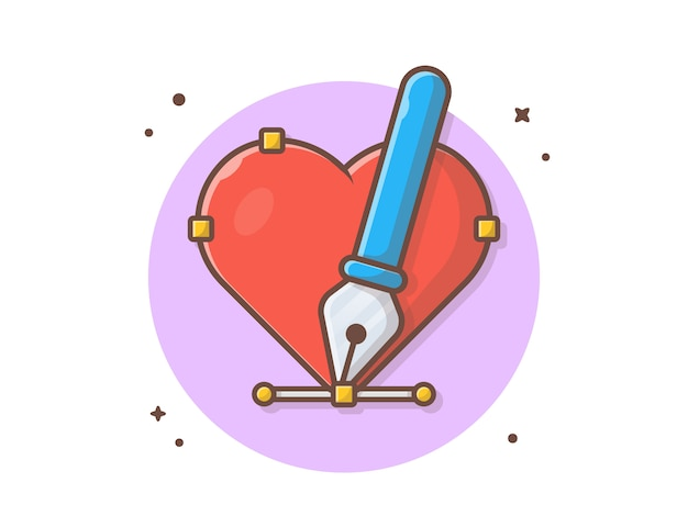 Love with pen tool cursor