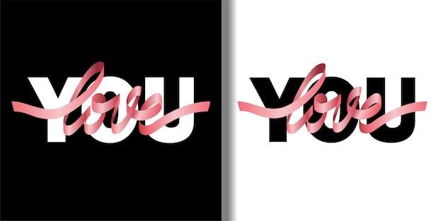 Love you fashion tshirt z nadrukiem z różową wstążką