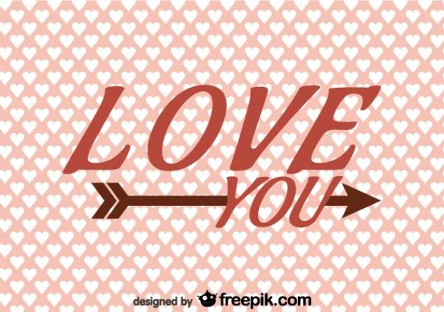 Love you na projekt strzałka retro karty