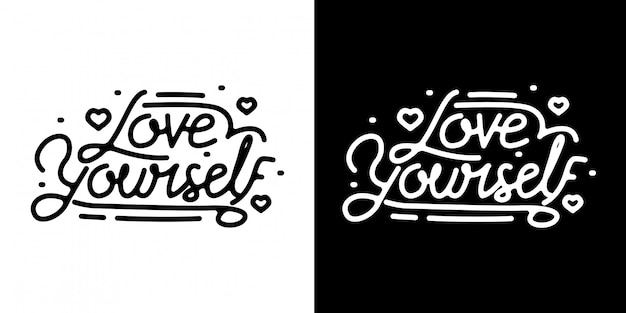 Love yourself monoline napis vintage