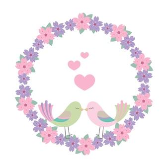 Lovebirds i ilustracja wieniec kwiatowy