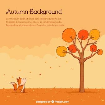 Lovely backgroung jesienią z ręcznie narysowanego stylu