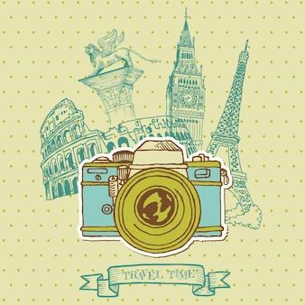 Lovely card - vintage camera z architekturą europy