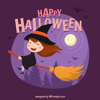 Lovely halloween czarownica tle