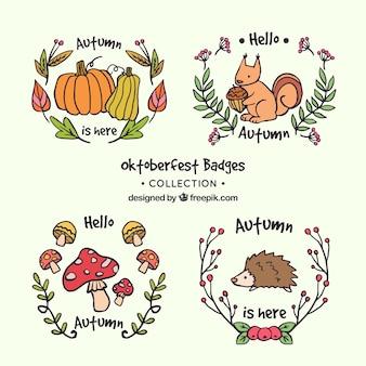 Lovely zestaw ręcznie narysowanych odznaki jesienią