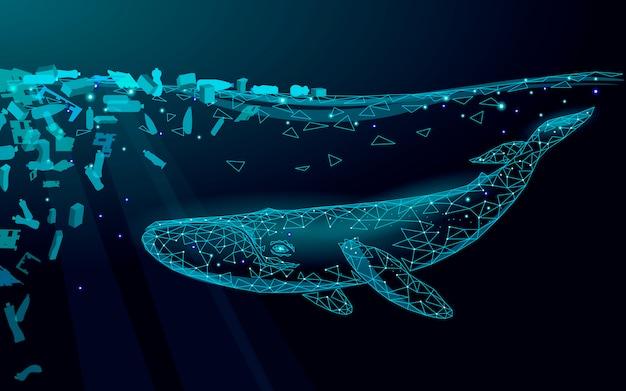 Low poly 3d wieloryb plastikowe zanieczyszczenie oceanu pływanie podmorski. powierzchni wody ciemna noc świecące fale śmieci. oszczędzaj pomoc, aby przetrwać humbak morski dzikie życie. trójkąt wielokąta ilustracji