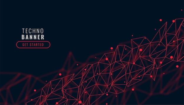 Low poly czerwone abstrakcyjne tło połączenia sieciowego