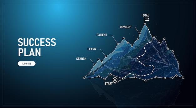 Low poly droga w górskiej koncepcji sukcesu futurystyczne cyfrowe linie geometryczne na niebieskim tle wraz z obrazami, infografikami i obrazami wektorowymi.
