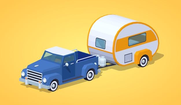 Low poly niebieski retro pickup z pomarańczowo-białym samochodem kempingowym