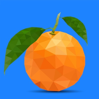 Low poly orange na niebieskim tle