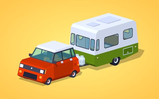 Low poly red hatchback z zielono-białym samochodem kempingowym