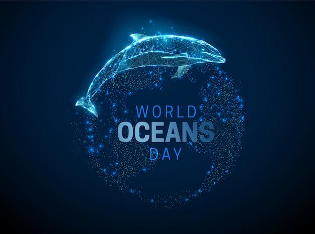 Low poly skoki delfinów i planety ziemia.