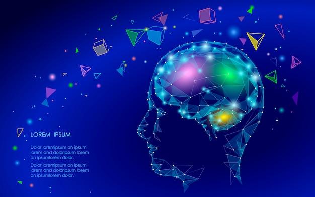 Low poly streszczenie mózgu wirtualnej rzeczywistości koncepcja, geometryczne kształty wielokąta