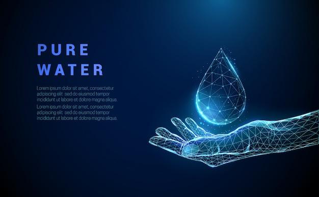 Low poly streszczenie ręka trzyma kroplę wody.
