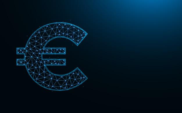 Low poly symbol euro, waluta w stylu wielokąta