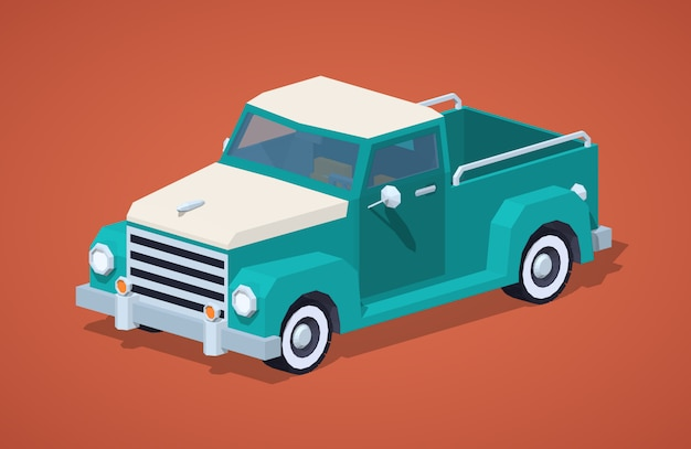 Low poly turkusowy pickup retro