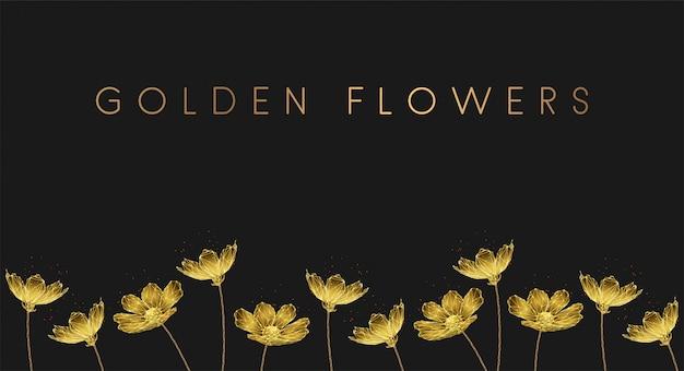 Low poly złote rosnące kwiaty.