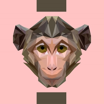 Low polygonal monkey head vector
