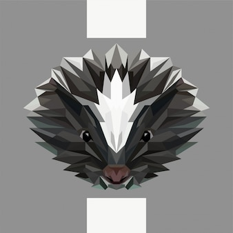 Low polygonal skunk head vector